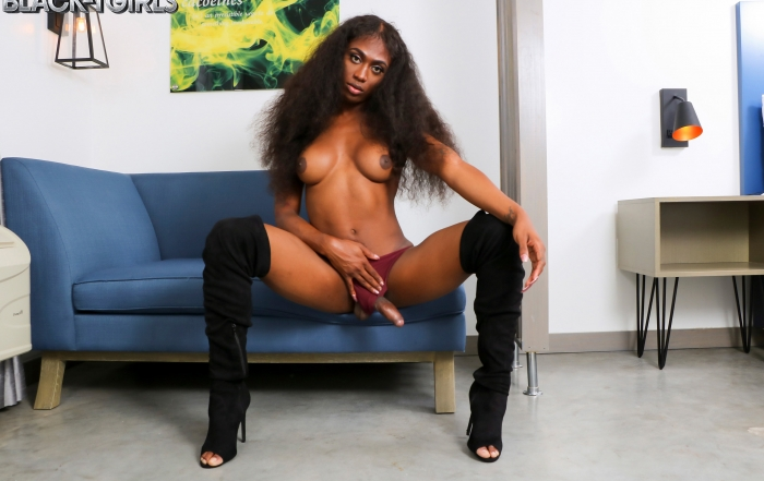 Tiara cums for you on Black TGirls Cumshot Thursday!