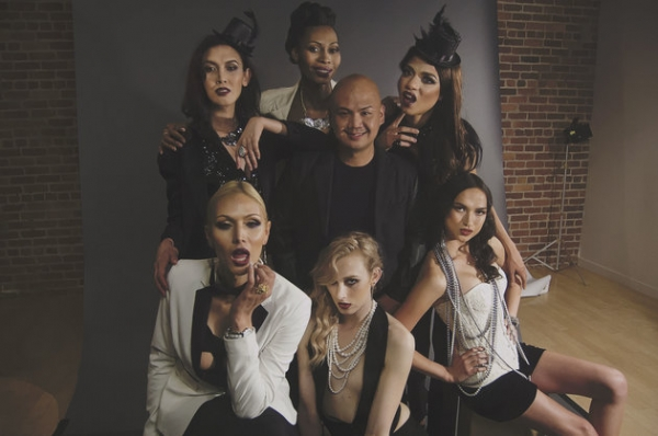 Asuncion, center, with six transgender models signed to Apple Model Management.