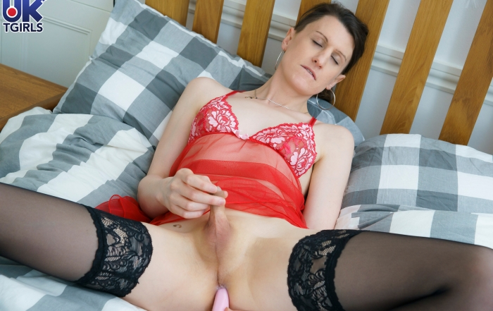 Sexy Bonnie has fun with her dildo on UK TGirls!