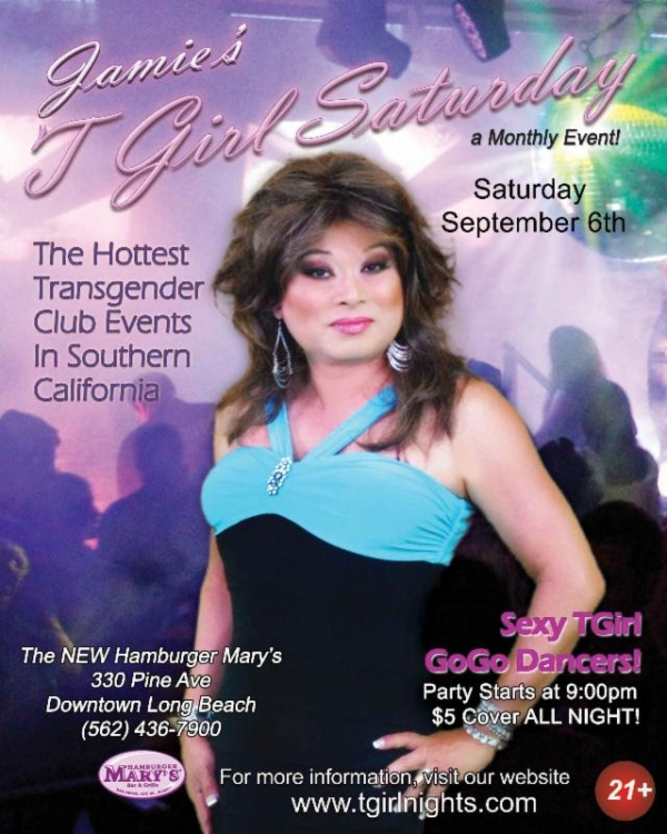 sept6 tgirl nights 600x750 Jamies TGirl Saturday at Hamburger Marys in Long Beach