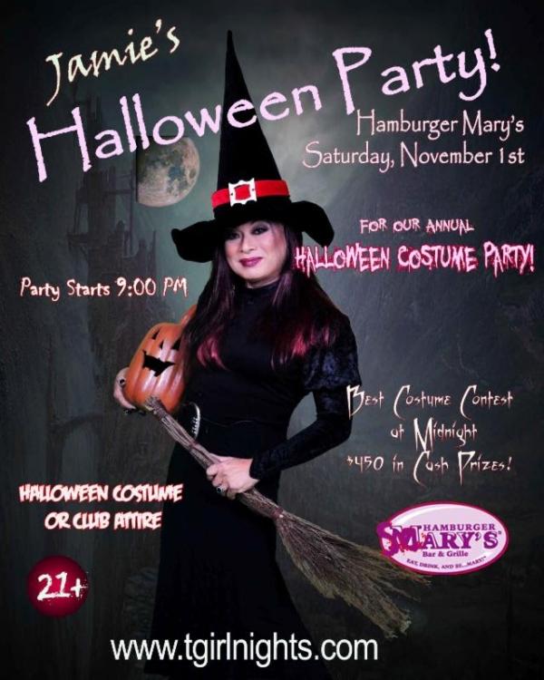 tgirlnights nov 600x750 Jamies Halloween Party at Hamburger Marys