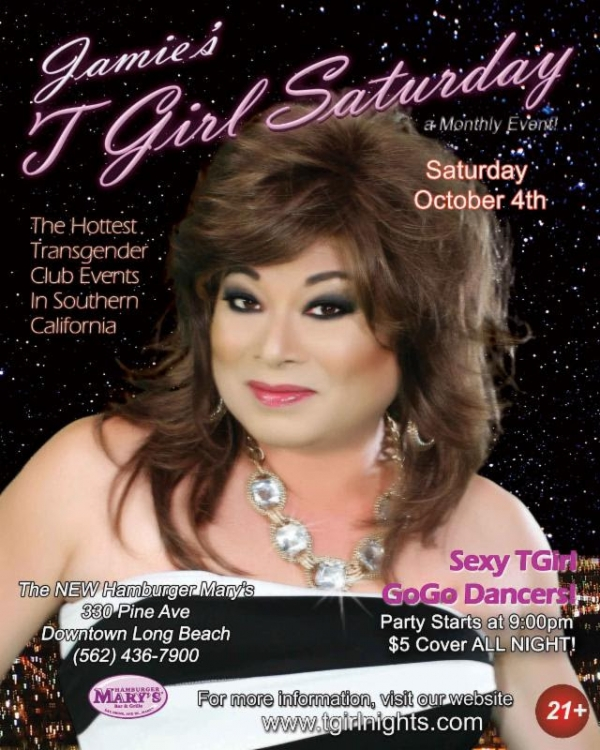 tgirlnights oct 600x750 Jamies TGirl Saturdays at Hamburger Marys in Long Beach, CA