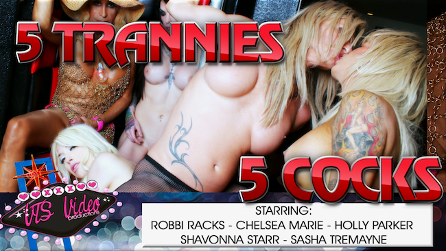 "VTS Video Productions Releases ""5 Trannies, 5 Cocks"""